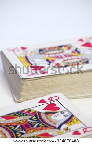 The King and Queen of Hearts on playing cards. Shallow d o f. Valentine/Love concept