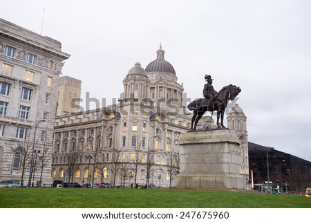 The King Edward VII Monument and the Liver Building, Liverpool, England - stock photo
