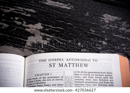 The King James Bible (public domain) open to the beginning of the New Testament the book of the Gospel of Matthew
