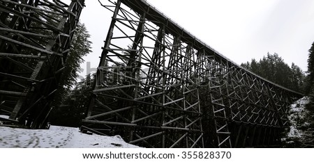 The Kinsol Trestle Panorama view on snowy day also known as the Koksilah River Trestle, is a wooden railway trestle located on Vancouver Island north of Shawnigan Lake in  Vancouver island BC Canada.  - stock photo
