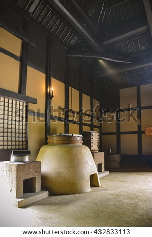 Kitchen Japanese Old House 18th Century Stock Photo
