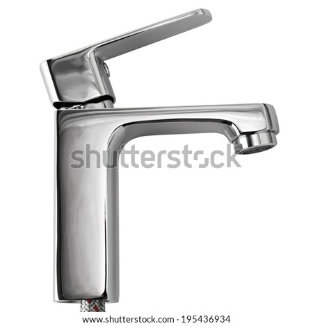 The kitchen water crane is isolated on a white background  - stock photo