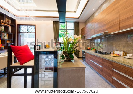 the kitchen with nice decoration