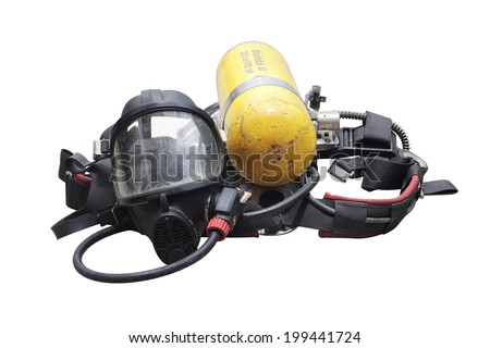 The kits oxygen masks and oxygen tanks through the use of firefighters in Thailand on white background - stock photo