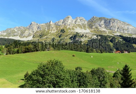 The Klausen Pass in Switzerland (1948 m) connects Uri and Glarus and offers wonderfull views - stock photo