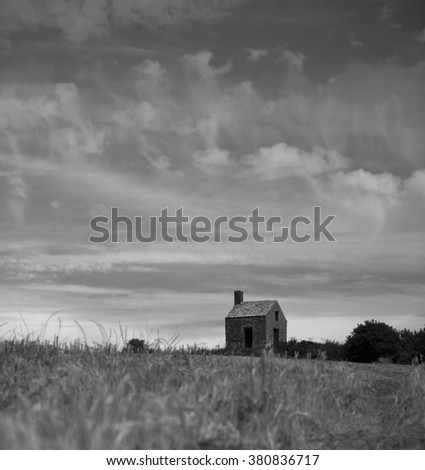 The Knoll in Dorset on a summer morning, black and white landscape