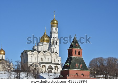 The Kremlin cathedrals and the Ivan the Great bell tower.  - stock photo