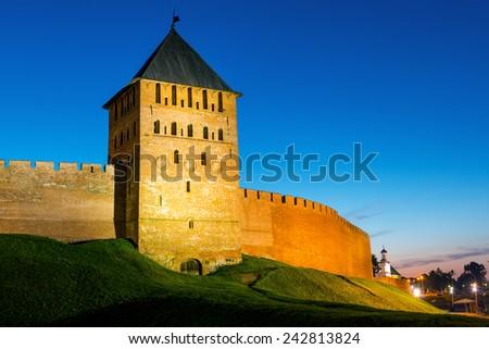 The Kremlin walls in Veliky Novgorod (Novgorod the Great), Russia. - stock photo