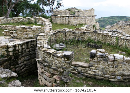The Kuelap fortress near Chachapoyas, Peru was built by the Chacha people who lived in the fertile cloud forests. The fortress is one of the largest ruins in the world. - stock photo