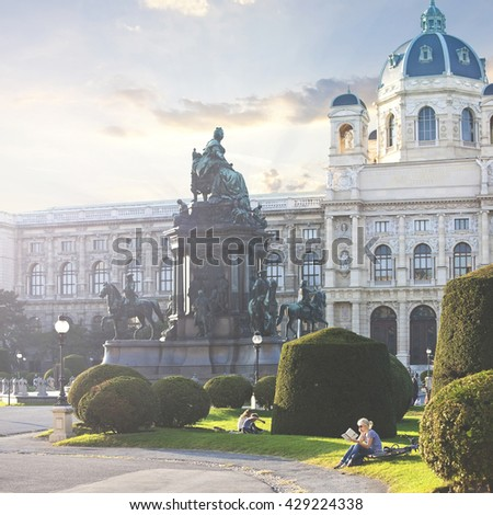 The Kunsthistorisches Museum (English Museum of Art History) of Vienna - Austria - stock photo