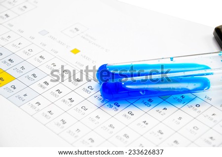 The lab or laboratory test tubes on periodic Table