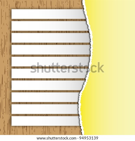 The label sticky on wooden board with torn yellow paper. - stock photo