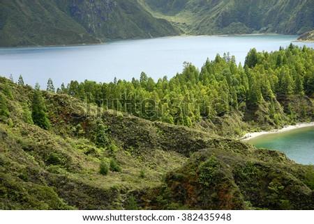 the Lagoa do Fogo in Azores island of Sao Miguel, Portugal - stock photo