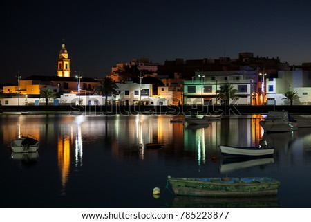 The lagoon called Charco de San Gines at night in the center of Arrecife town on the Lanzarote Canary Island