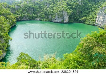 The lagoon, Mae Koh island, Ang Thong National Marine Park, south of Thailand - stock photo