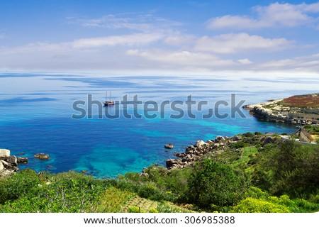 The  Lagoon on Gozo Island. Malta Gozo - stock photo