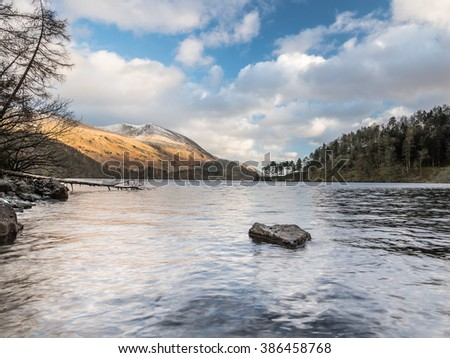 The Lake District Cumbria Thirlmere fallen tree and lake