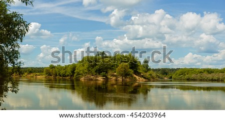 The Lake Dnieper and forest island