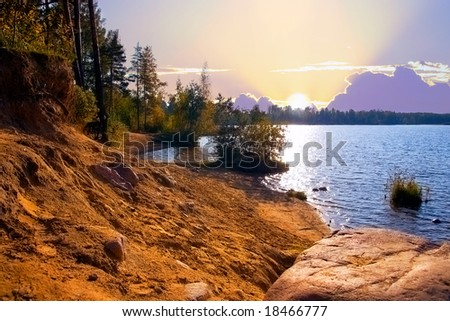 the lake in a pine forest. North Europe