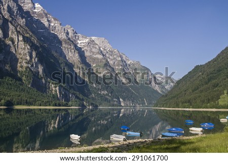 The Lake Kloental is incurred by a landslide lake in the canton of Glarus in Switzerland - stock photo