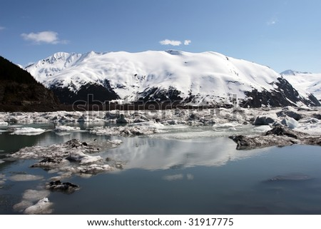 The lake of Portage Glacier is now where the glacier used to be a few years back. Portage Glacier is located in Alaska and close to Anchorage. - stock photo
