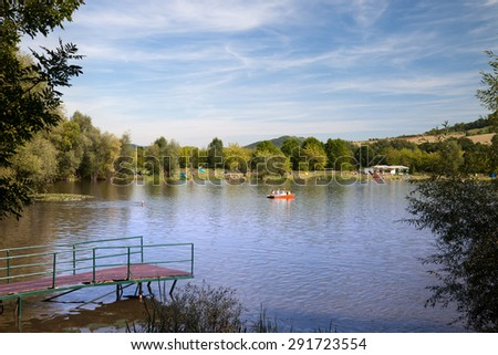 The Lake Porstendorf at Jena in the summer - a recreation area in Thuringia - stock photo