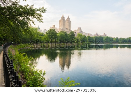 The lake/reservoir in Central Park, New York - stock photo