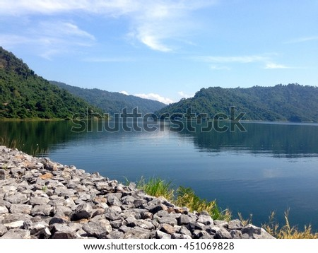 The lake view from dam in Thailand.