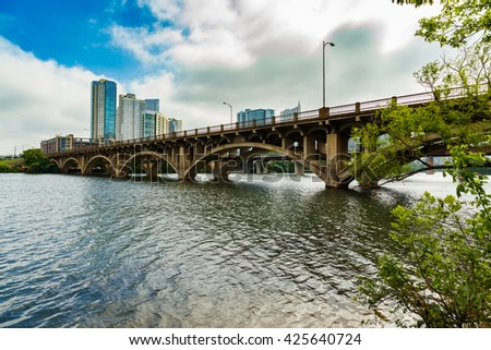 The Lamar Street Bridge is a popular thoroughfare over the Colorado River in the downtown Austin, Texas area.