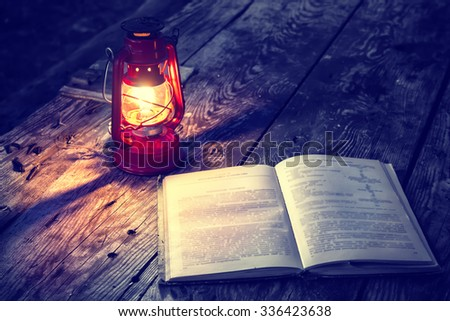 The lamp and book