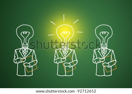 The lamp is lit, the talent and ingenuity of business competition. - stock photo