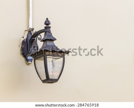 The lamps on concrete white wall background for decorate and design project. - stock photo