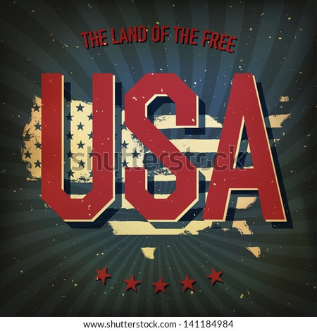 The land of the free - USA. Raster version, vector file available in my portfolio. - stock photo