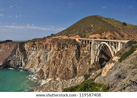 The Landmark Bixby Bridge on Pacific Coast Highway, California - stock photo