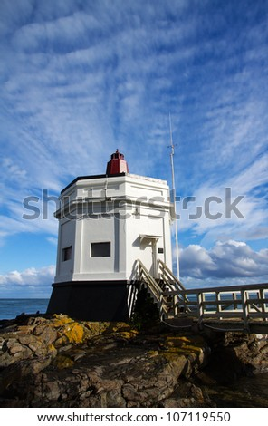 The landmark Lighthouse at Stirling Point, Bluff, South Island, New Zealand - stock photo