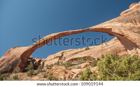 the Landscape Arch in Arches National Park, Utah - stock photo