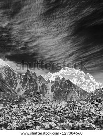 The landscape in Cho-Oyu mountain massif - Gokyo, Nepal, Himalayas (black and white) - stock photo