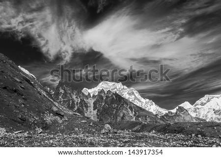 The landscape in Cho-Oyu mountain massif - Gokyo region, Nepal, Himalayas (black and white) - stock photo