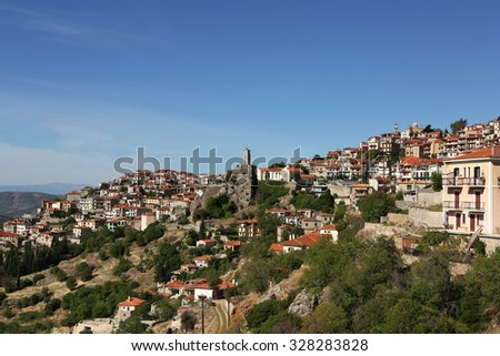 The landscape of Arachova town near Delphi, Greece