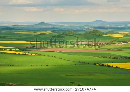 the landscape of Czech Central Range - Czechische Republic - Europe - stock photo