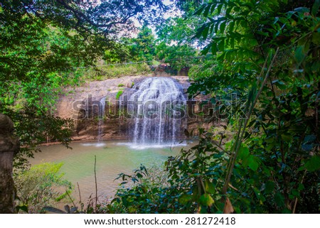 The landscape of Dalat, water flowing over rocks - stock photo