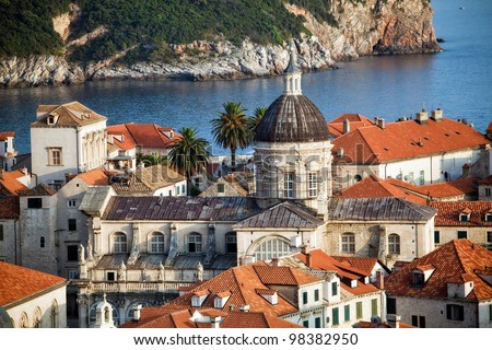 The landscape of Dubrovnik old town, Croatia - stock photo