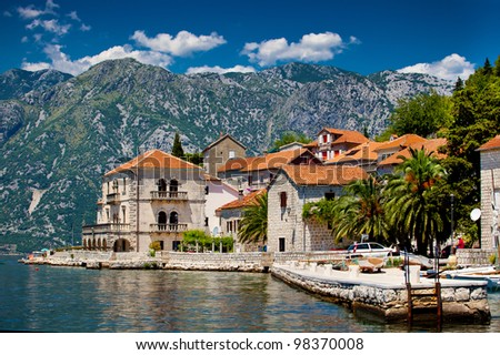 The landscape of Perast town in Montenegro - stock photo