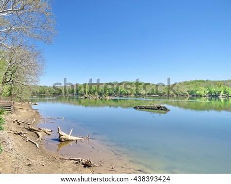 The landscape of Potomac River near Washington DC, April 2016 USA                                 - stock photo