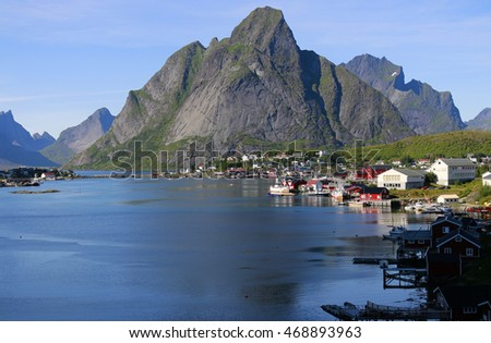 the landscape of Reine with the Reine Fjord, Lofoten, Norway.