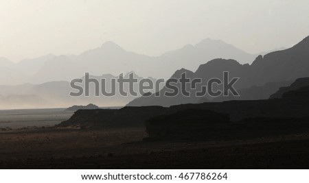the landscape of the desert of wadi rum in jordan in the middle east