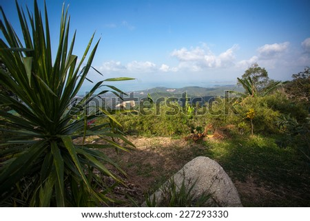 The landscape on Koh Samui seen from viewpoint. Thailand - stock photo