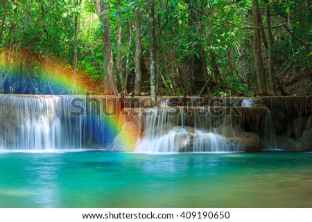 The landscape photo, Huay Mae Kamin Waterfall, beautiful waterfall in deep forest, Kanchanaburi province, Thailand - stock photo