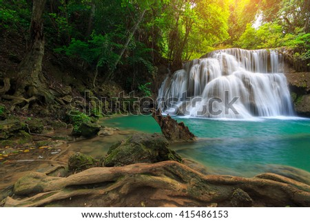 The landscape photo, Huay Mae Kamin Waterfall, beautiful waterfall in deep forest, Kanchanaburi province, Thailand