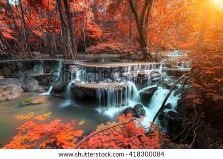 The landscape photo, Huay Mae Kamin Waterfall, beautiful waterfall in rainforest, Kanchanaburi province, Thailand - stock photo
